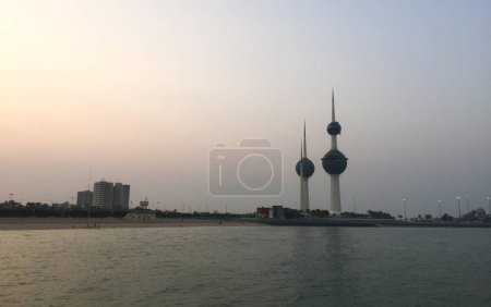 Photo for Amazing colorful Kuwait cityscape during sunset, view from sea port. - Royalty Free Image