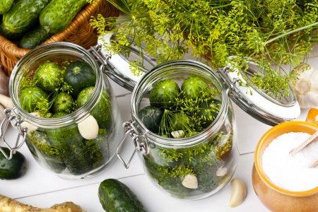 Homemade pickles in brine