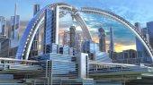 3D illustration of a futuristic city.