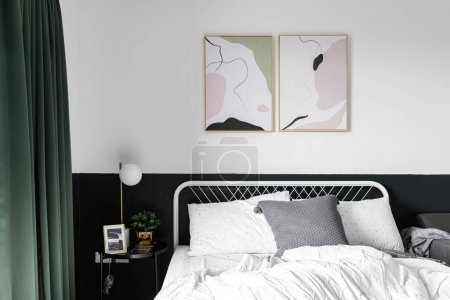 Photo for Stylish bedroom corner in scandinavian style with well decoration with sofa / decoration idea / interior design / stylish decor - Royalty Free Image
