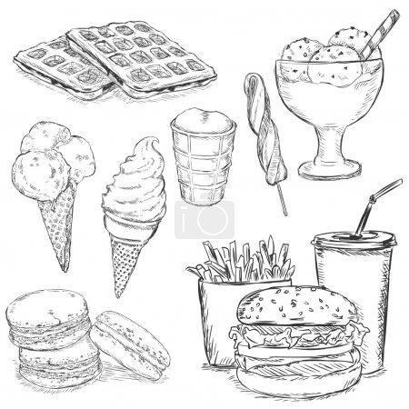 Illustration pour Ensemble vectoriel d'articles de collation croquis. Restauration rapide, boissons, dessert et crème glacée . - image libre de droit