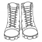 Vector Sketch Illustration - High Leather Army Boots Front View