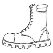 Vector Sketch Illustration - High Leather Army Boots Side View