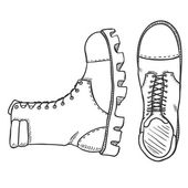 Vector Sketch Illustration - High Leather Army Boots Side and Top View