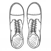 Vector Sketch Illustration - High Leather Army Boots Top View