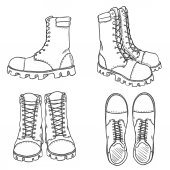 Vector Sketch Illustration - High Leather Army Boots Side Front and Top View