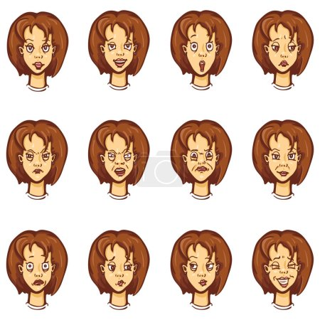 Illustration for Vector Set of Cartoon Female Character Emotions - Royalty Free Image