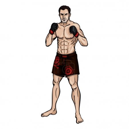 Cartoon Muscular MMA Fighter