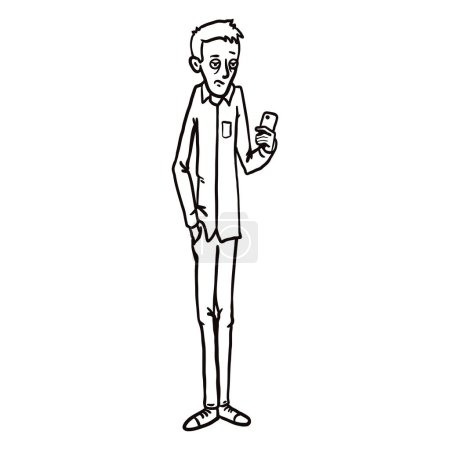 Vector Line Art Character - Bored Young Man with a...