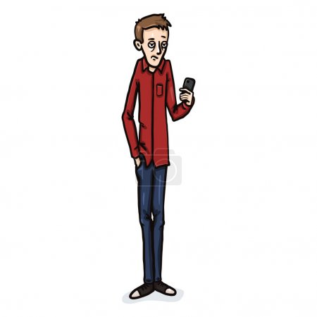 Illustration for Vector Cartoon Character - Bored Young Man with a Cell Phone - Royalty Free Image