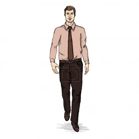 Man Model in Shirt and Tie.