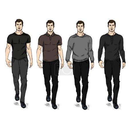 Illustration pour Ensemble vectoriel de croquis Modèles masculins de mode dans l'usure occasionnelle - image libre de droit