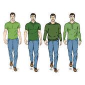 Set of Sketch Fashion Male Models