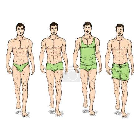 Fashion Male Models in Underwear.