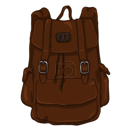Illustration for Vector illustration design of Single Dark Brown Cartoon Casual Style Backpack - Royalty Free Image