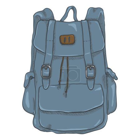 Illustration for Vector illustration design of Single Blue Denim Cartoon Casual Style Backpack - Royalty Free Image