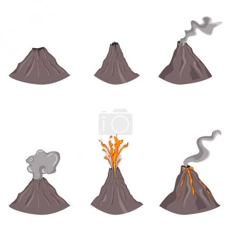 Set of flat color volcanoes