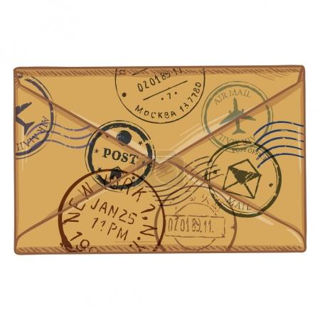 brown envelope with postal stamps