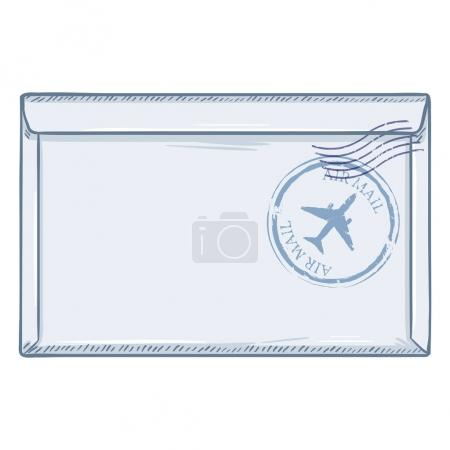 Illustration for Cartoon glued white envelope with air postal stamp isolated on white background - Royalty Free Image