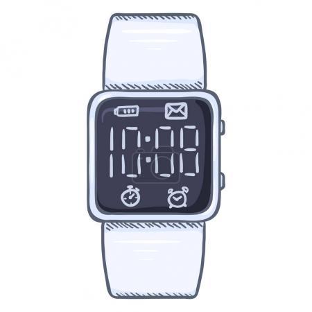 cartoon modern digital wristwatch