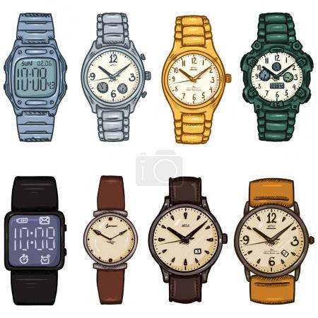set of cartoon color wristwatches