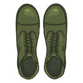 Vector Cartoon Khaki Army Boots High Military Shoes Top View