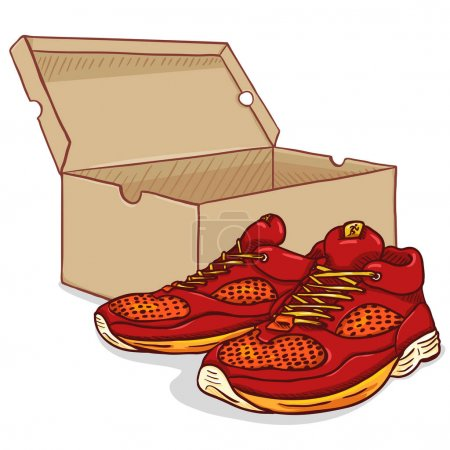 Vector Cartoon Running Shoes with Shoebox
