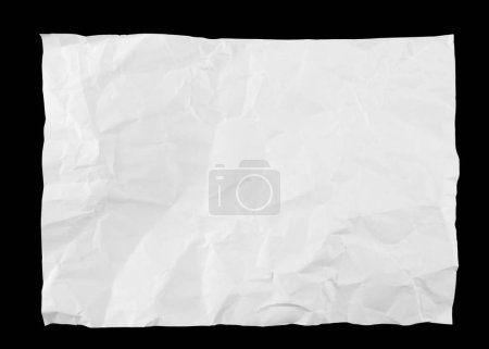Crumpled sheet of paper on a isolated in black background