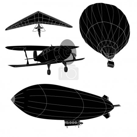 air transportation set Illustration isolated on white.