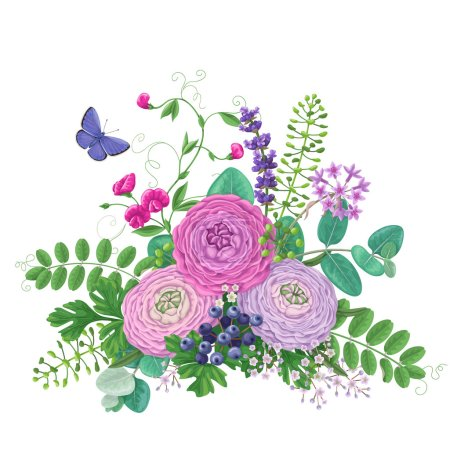 Illustration for Bunch of colorful flowers and flying butterfly isolated on white. Pink and lilac buttercup with floral elements and berries. Romantic bouquet. - Royalty Free Image