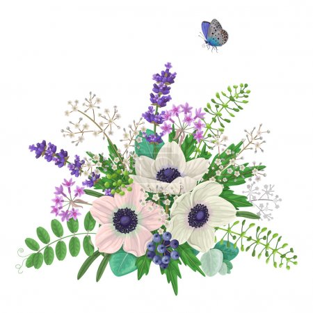 Illustration for Bunch of flowers and flying butterfly isolated on white. Cream  color anemone with floral elements and berries. Anemones romantic bouquet. - Royalty Free Image