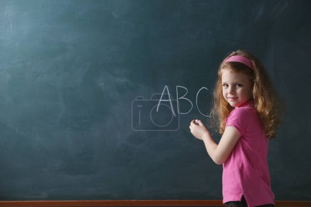 Young girl in class room