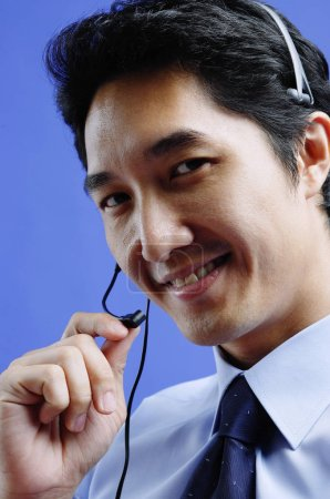 Man wearing headset