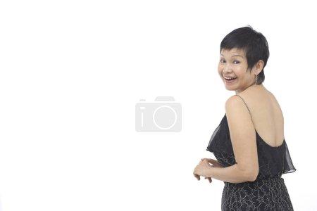 Mature woman in black dress