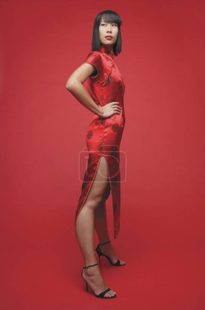 Woman wearing cheongsam