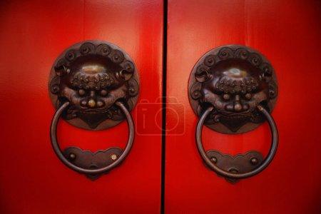 Pair of brass lion head door knockers at temple...