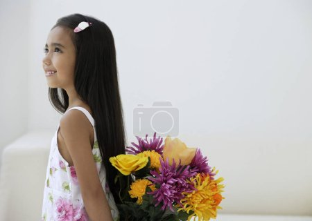 girl with bunch of flowers