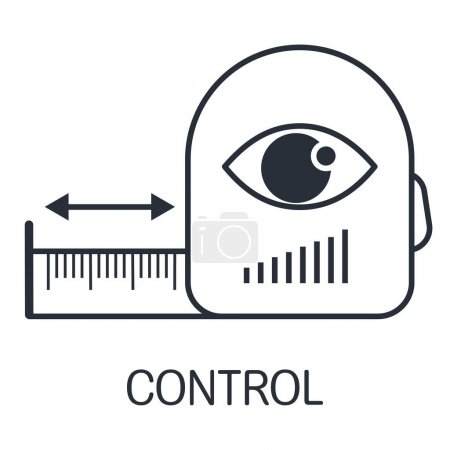 Illustration for Measuring tape and eye. Control the distance. Vector linear icon isolated on white background. - Royalty Free Image