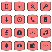 Set Of 16 Simple  Icons Can Be Found Such Elements As Call Button Cravat Gift And Other