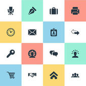 Vector Illustration Set Of Simple Commerce Icons Elements Work Seat Password Member And Other Synonyms Cart Timer And Friendship