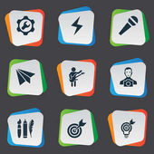 Vector Illustration Set Of Simple Creative Thinking Icons Elements Accuracy Cameraman Energy And Other Synonyms Target Darts And Send