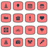 Vector Illustration Set Of Simple Holiday Icons Elements Box Camera Soul And Other Synonyms Steam Prize And Train