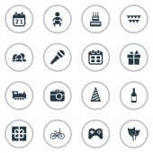 Vector Illustration Set Of Simple Holiday Icons Elements Camera Domestic Game And Other Synonyms Days Actor And Party