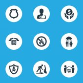 Vector Illustration Set Of Simple Warrant Icons Elements Protect Currency Kid Stumbling Warning And Other Synonyms Kid Palm And Hand