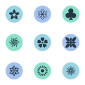 Vector Illustration Set Of Simple Flower Icons. Elements Morning Glory, Gerberas, Laurel And Other Synonyms Cypress, Jonquil And Leaf.