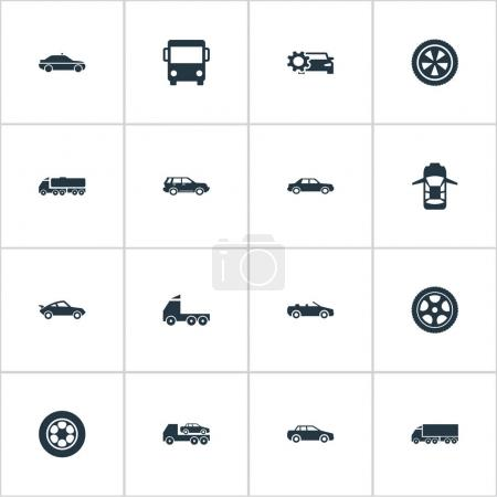 Vector Illustration Set Of Simple Auto Icons. Elements Panorama, Driving, Motor And Other Synonyms Wagon, Carrying And Evacuate.