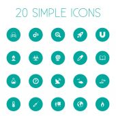 Vector Illustration Set Of Simple Study Icons Elements Fire Geography Book And Other Synonyms Pipette Mad And Info