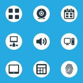 Vector Illustration Set Of Simple Device Icons Elements Adding Device Sound Cube And Other Synonyms Webcam Adding And Desktop