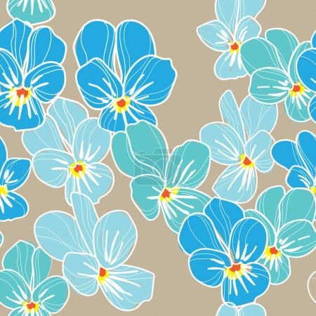 Illustration for Stylish seamless pattern with forget-me-not . Vector freehand drawing . delicate flowers and leaves . - Royalty Free Image