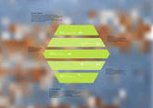 Illustration infographic template with motif of hexagon horizontally divided to five standalone green sections Blurred photo with texture motif of worn wooden board is used as background